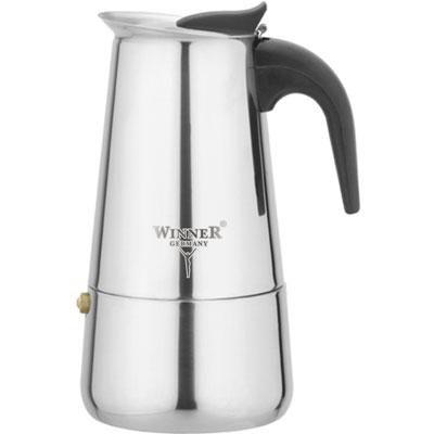 Кофеварка гейзерная Winner WR-4250, 0,2 л94672Гейзерная кофеварка такого типа была изобретена в 1827 году парижским ювелиром Ганде. В его кофеварке вода поднималась по трубке, вставленной в рукоятку, и распылялась над молотым кофе. Вскоре другой французский изобретатель Дюран усовершенствовал кофеварку Ганде таким образом, что кипяток стал подниматься по центральной трубке, а потом многократно распыляться над порошком кофе. Со временем конструкция гейзерных кофеварок усложнилась, в ней появились электронагревательные элементы, клапаны и подвижные шайбы, однако принцип ее действия остался тем же.Принцип работы различных моделей гейзерных кофеварок одинаков - кофе заваривается путем многократного прохождения горячей воды или пара через слой молотого кофе.Удобство такой кофеварки также в том, что вся кофейная гуща остается во втором контейнере. Гейзерные кофеварки пользуются большой популярностью благодаря изысканному аромату. Кофе получается крепкий и насыщенный.Кофеварка Winner WR-4250 полностью изготовлена из высококачественной нержавеющей стали. Ручка у кофеварки из бакелита. Такой материал устойчив к высоким температурам, и при этом не нагревается. Тем самым, исключая случаи возможных ожогов. В комплекте инструкция по эксплуатации. Характеристики:Материал:нержавеющая сталь, пластик. Высота:17 см. Диаметр дна:8,5 см. Толщина стенки:0,5 см. Размеры упаковки: 11,5 см х 9,5 см х 18 см. Артикул:WR-4250. Изготовитель: Германия. Производитель: Китай. Кофеварка пригодна для использования на газовых, керамических, электрических и индукционных плитах.Подходит для чистки в посудомоечной машине.