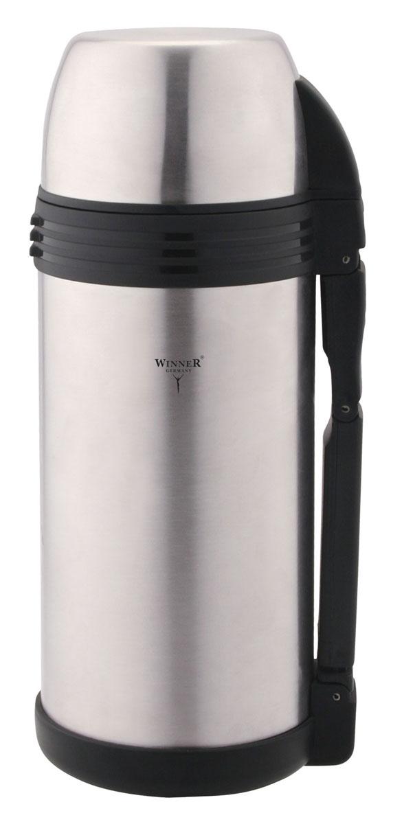 Термос металлический с ручкой Winner + дополнительная пластиковая чашка, с широким горлом, цвет: металлик, 1,2 лWR-8226Термос Winner представляет собой сосуд, двойные стенки которого выполнены из высококачественной нержавеющей стали. Термос закрывается винтовой пробкой. На корпус навинчивается крышка. Термос поможет вам сохранить горячими или холодными ваши любимые напитки, первые и вторые блюда.В комплекте дополнительная пластиковая чашка. Термос оснащен ремнем и удобной ручкой. Характеристики: Материал: нержавеющая сталь, пластик. Высота (с учетом крышки): 25 см. Диаметр: 10 см. Объем: 1,2 л. Размер в упаковке: 12 см х 12 см х 21 см.