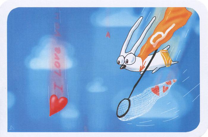 Открытка I Love You. Ручная авторская работа. sp006sp006Авторская открытка станет необычным и ярким дополнением к подарку дорогому и близкому вам человеку или просто добавит красок в серые будни. Открытка оформлена изображением зайца с сачком, ловящего сердечки. Обратная сторона открытки не содержит текста, что позволит вам самостоятельно написать самые теплые и искренние пожелания.К открытке прилагается бумажный конверт. Характеристики: Автор: Vsegdaestpovod. Размер:15 см х 10 см. Материал: бумага. Артикул: sp006.