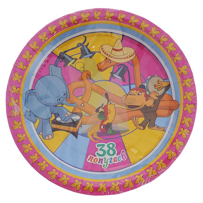 Набор одноразовых тарелок 38 попугаев, 10 шт1301356Набор одноразовых тарелок 38 попугаев сделает ваш стол ярким и необычным. Тарелки оформлены яркими изображениями персонажей любимого советского мультфильма. В набор входят десять тарелок. Эти праздничные аксессуары поднимут настроение вам и вашим гостям! Характеристики: Диаметр тарелок: 18 см.