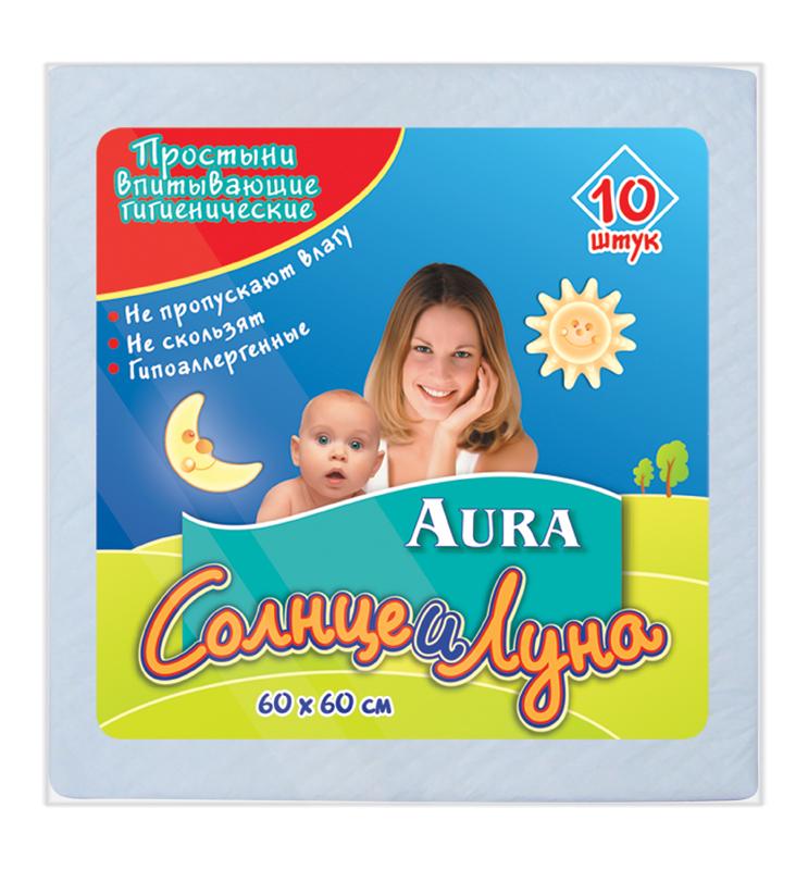 Простыни впитывающие гигиенические Aura Солнце и Луна, 60 см х 60 см, 10 штMP59.4DВпитывающие гигиенические простыни Aura Солнце и Луна предназначены для дополнительной защиты постельного белья при уходе за детьми. Поверхность из мягкого нетканого материала не раздражает кожу. Специальная пробивка и внутренний слой из распушенной целлюлозы обеспечивают быстрое впитывание и распределение влаги. Внутренний слой простыни представляет собой нескользящую защитную пленку, препятствующую протеканию. Края простыни надежно скреплены для лучшей защиты. Простыни удобны во время смены подгузника. В комплект входят 10 одноразовых простыней. Характеристики:Материал: распушенная целлюлоза, нетканный материал, полиэтилен, медицинская бумага. Размер простыни: 60 см x 60 см.