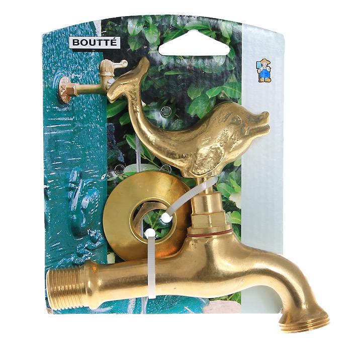 Кран садовый Boutte Дельфин с вентилем, 3/496515412Декоративный садовый кран Boutte стилизован под золото. Вентиль, выполненный в форме дельфина, будет служить эксклюзивным украшением в любом саду. Характеристики:Материал: латунь, резина. Размер: 3 см х 12 см х 12 см. Цвет: золотистый. Размер упаковки: 4 см х 12 см х 15 см.
