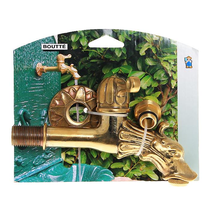 Кран садовый Boutte Дракон с вентилем, 1,26.295-875.0Декоративный садовый кран Boutte стилизован под золото. Вентиль, выполненный в форме дракона, будет служить эксклюзивным украшением в любом саду. Переходник 3/4,Резьба 1/2. Характеристики:Материал: латунь, резина. Размер: 3 см х 18 см х 10 см. Цвет: золотистый. Размер упаковки: 4 см х 18 см х 15 см.