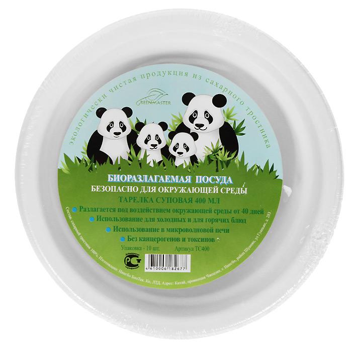 Набор суповых био-тарелок Greenmaster, цвет: белый, 400 мл, 10 штVT-1520(SR)Набор Greenmaster состоит из 10 суповых био-тарелок. Биоразлагаемая посуда, полученная из сахарного тростника, является экологически чистой и абсолютно безопасной для окружающей среды. Разлагается под воздействием окружающей среды от 40 дней. Используется для холодных и для горячих блюд. Можно использовать в микроволновой печи. Без канцерогенов и токсинов.Материал: сахарный тростник 100%.Объем мисок: 400 мл.Размер тарелки: 17,8 см х 4,1 см х 17,8 см.Комплектация: 10 штук.