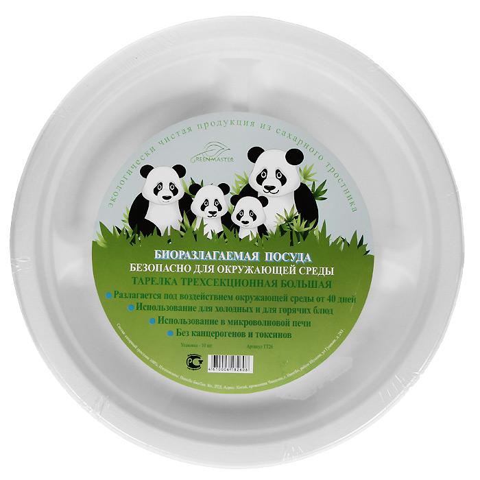 Набор круглых био-тарелок Greenmaster, три секции, цвет: белый, диаметр 26 см, 10 штVT-1520(SR)Набор Greenmaster состоит из 10 круглых био-тарелок. Биоразлагаемая посуда, полученная из сахарного тростника, является экологически чистой и абсолютно безопасной для окружающей среды. Разлагается под воздействием окружающей среды от 40 дней. Используется для холодных и для горячих блюд. Можно использовать в микроволновой печи. Без канцерогенов и токсинов.Материал: сахарный тростник 100%.Размер тарелки: 26 см х 2,6 см х 26 см.Комплектация: 10 штук.