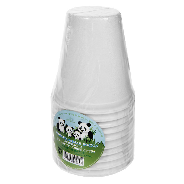 Набор био-стаканов Greenmaster, цвет: белый, 260 мл, 10 штVT-1520(SR)Набор Greenmaster состоит из 10 био-стаканов. Биоразлагаемая посуда, полученная из сахарного тростника, является экологически чистой и абсолютно безопасной для окружающей среды. Разлагается под воздействием окружающей среды от 40 дней. Используется для холодных и для горячих блюд. Можно использовать в микроволновой печи. Без канцерогенов и токсинов.Материал: сахарный тростник 100%.Объем стаканов: 260 мл.Размер стакана: 8 см х 9 см х 8 см.Комплектация: 10 штук.