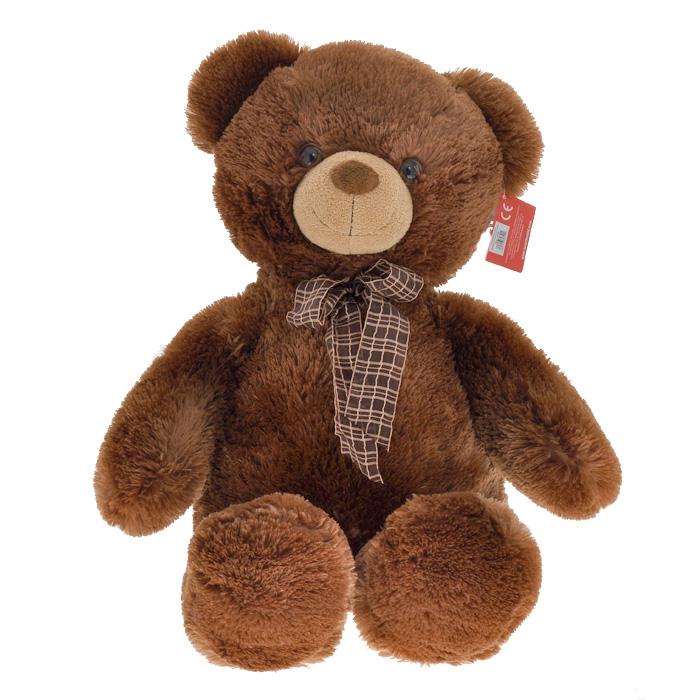 """Мягкая игрушка Aurora """"Медведь"""", с бантом, цвет: коричневый, 69 см"""