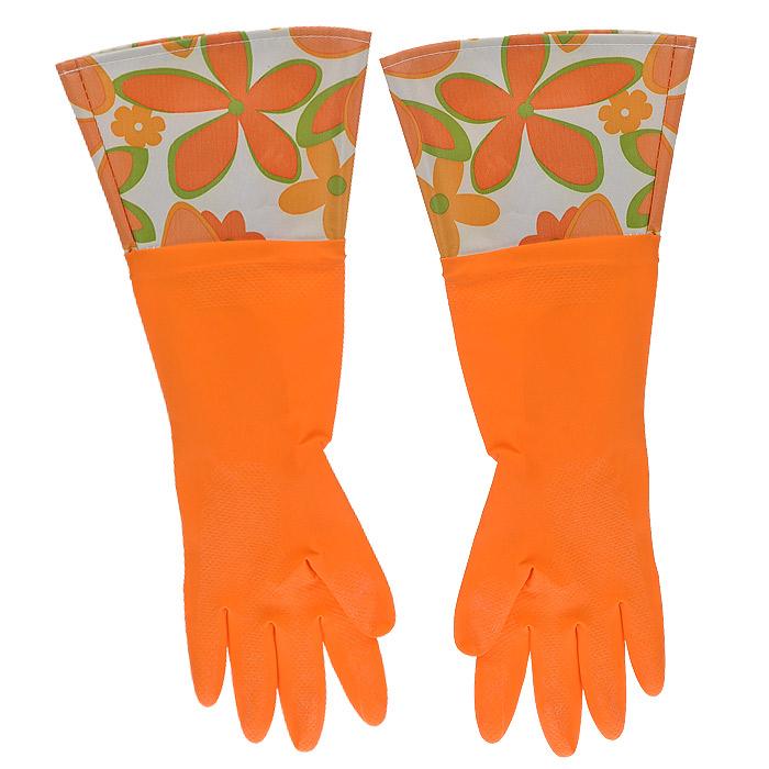 Перчатки латексные, с манжетой из полиэстера и внутренним хлопковым напылением. Размер М. 29492531-105Хозяйственные перчатки, выполненные из латекса, идеально подойдут для всех видов хозяйственных работ. Они бережно и надежно предохранят нежную кожу рук от агрессивной внешней среды, такой, как жесткая водопроводная вода и моющие средства. Высокие манжеты защищают рукава от грязи и влаги. Не дают воде попадать во внутрь.