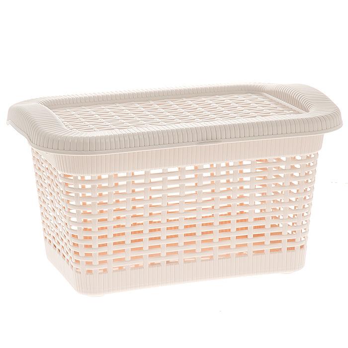 Корзина Rattan с крышкой, цвет: бледно-бежевый, 40 л391602Прямоугольная корзина Rattan изготовлена из прочного пластика бледно-бежевого цвета. Она предназначена для хранения мелочей в ванной, на кухне, даче или гараже. Позволяет хранить мелкие вещи, исключая возможность их потери. Корзина с отверстиями на стенках и крышке в виде плетения и со сплошным дном. Корзина имеет плотно закрывающуюся съемную крышку. Сбоку имеются две ручки для удобной переноски.Объем корзины: 40 л. Размер корзины (Ш х Д х В): 59 х 40 х 29 см.
