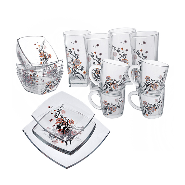 Набор для завтрака Сакура, 17 предметов95161BDНабор для завтрака Сакура изготовлен из высокопрочного прозрачного стекла, благодаря чему посуда будет использоваться очень долго, при этом сохраняя свой внешний вид. Набор состоит из четырех тарелок, четырех кружек, четырех стаканов, четырех салатников и одного блюда. Все предметы набора декорированы изображением в виде ветки сакуры. Благодаря такому набору ваш завтрак будет еще вкуснее. Практичный и современный дизайн делает набор довольно простым и удобным в эксплуатации.Данную посуду нельзя использовать в микроволновой печи. Можно использовать в посудомоечной машине без использования абразивных средств. Можно хранить в холодильнике. Характеристики:Материал: натрий-кальций силикатное стекло. Диаметр кружки по верхнему краю:8,5 см. Высота кружки:9,5 см. Размер салатника:12 см х 12 см. Высота стенок салатника:7 см. Размер тарелки:19 см х 19 см. Высота стенок тарелки:2 см. Размер блюда:26 см х 26 см. Высота стенок блюда:3 см. Диаметр стакана по верхнему краю:6,5 см. Высота стакана:13,5 см. Комплектация:17 предметов. Размер упаковки:27 см х 27 см х 20 см. Артикул:95161BD.