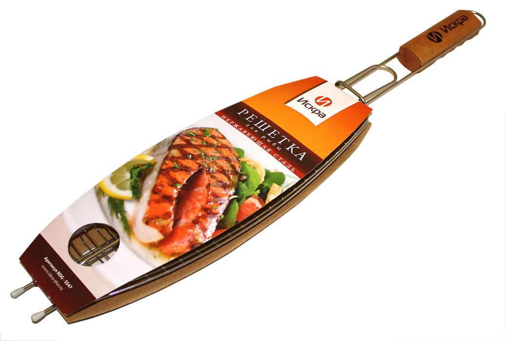 Решетка-гриль для рыбы Искра, 36 х 13 см54 009312Решетка-гриль для рыбы Искра изготовлена из высококачественной нержавеющей стали. Деревянная ручка предохраняет от ожогов. Характеристики: Материал: металл, дерево. Размер решетки: 36 см х 13 см х 3 см. Размер упаковки: 63 см х 13 см х 3 см. Длина ручки: 27 см.