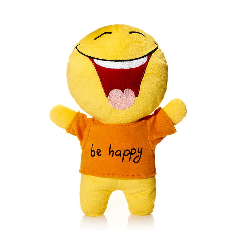 """Мягкая игрушка """"Смайл: Счастье"""", выполненная в виде радостного человечка-смайлика, вызовет умиление и улыбку у каждого, кто ее увидит. Человечек одет в оранжевую маечку с надписью: """"Be happy"""". Игрушка изготовлена из мягкого, приятного на ощупь искусственного меха с наполнителем из гипоаллергенного полиэфирного волокна. Удивительно мягкая игрушка принесет радость и подарит своему обладателю мгновения нежных объятий и приятных воспоминаний. Великолепное качество исполнения делают эту игрушку чудесным подарком к любому празднику. Такой смайлик станет замечательным подарком как ребенку, так и взрослому."""