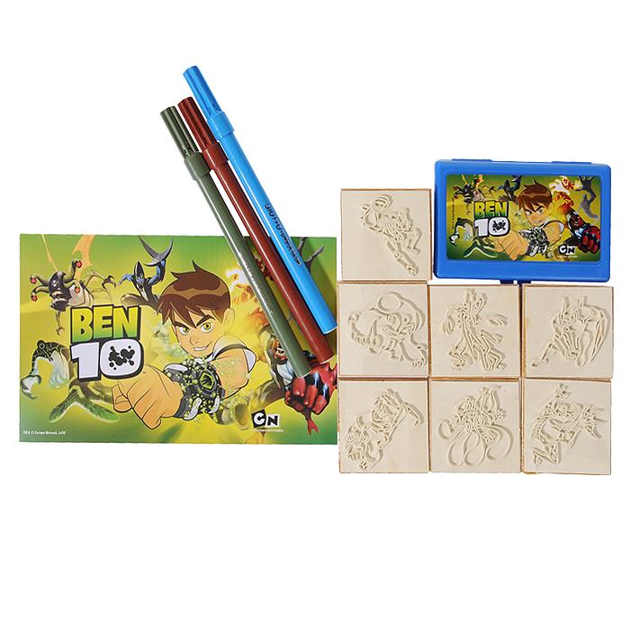 """Набор штампов """"Бен 10"""" включает в себя семь штампов с изображениями героев мультсериала """"Ben 10"""". Приложив штамп к штемпельной подушке, пропитанной нетоксичными чернилами, ребенок сможет украсить рисунки, поздравительные открытки, рамочки, тетради, альбомы для фотографий и многое другое. Штампы снабжены деревянными держателями, благодаря чему руки малыша останутся чистыми. В комплект со штампами входят три фломастера серого, голубого и коричневого цветов, которыми ребенок сможет раскрасить изображения или дополнить их, а также блокнот с изображением Бена Теннисона и других персонажей мультсериала. Чудо-картинки способствуют развитию воображения и фантазии, мышления и познавательных способностей, пробуждают у ребенка желание творить, представляя себя настоящим художником. Кроме того, это просто увлекательное и веселое занятие как для одного малыша, так и для целой компании. Порадуйте его таким замечательным подарком!"""