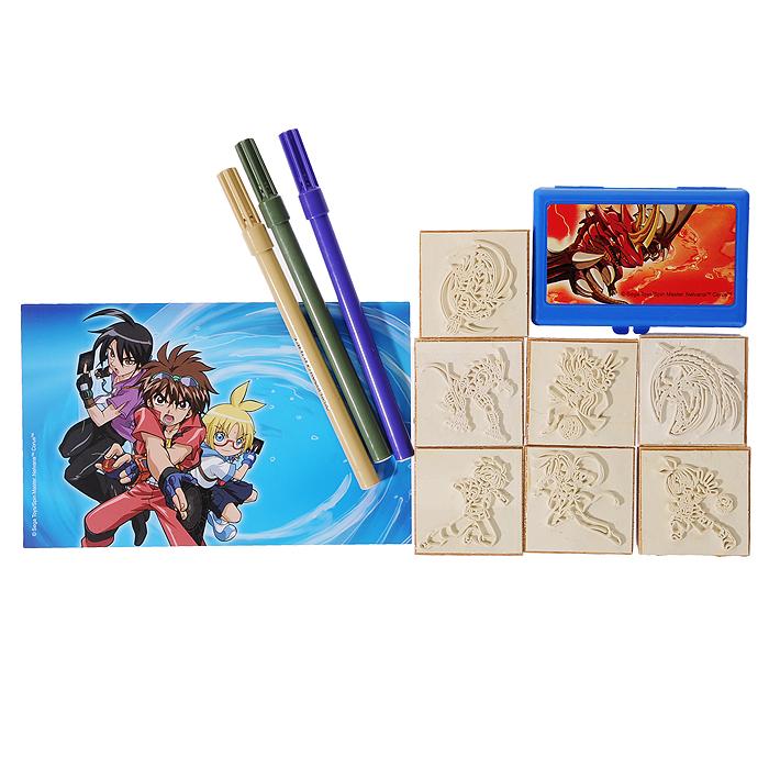 """Набор штампов """"Бакуган"""" включает в себя семь штампов с изображениями героев популярного мультсериала """"Bakugan"""" (""""Бакуган""""). Приложив штамп к штемпельной подушке, пропитанной нетоксичными чернилами, ребенок сможет украсить рисунки, поздравительные открытки, рамочки, тетради, альбомы для фотографий и многое другое. Штампы снабжены деревянными держателями, благодаря чему руки малыша останутся чистыми. В комплект со штампами входят три фломастера бежевого, серого и фиолетового цветов, которыми ребенок сможет раскрасить изображения или дополнить их, а также блокнот с изображениями героев мультсериала """"Бакуган"""". Чудо-картинки способствуют развитию воображения и фантазии, мышления и познавательных способностей, пробуждают у ребенка желание творить, представляя себя настоящим художником. Кроме того, это просто увлекательное и веселое занятие как для одного малыша, так и для целой компании. Порадуйте его таким замечательным подарком!"""