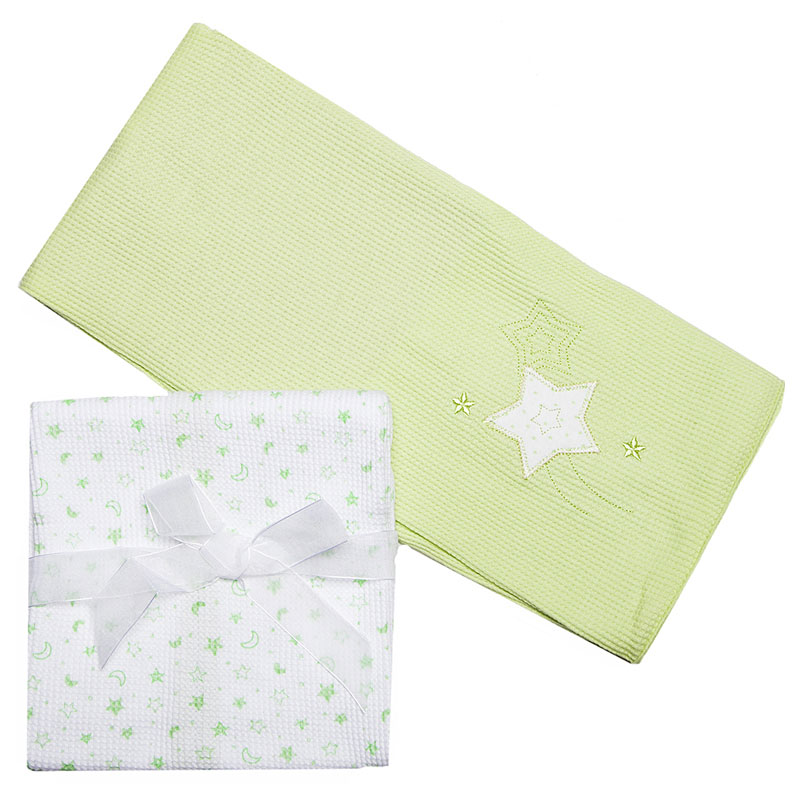 Комплект трикотажных пеленок Spasilk  Звездочка , цвет: зеленый, 76 см х 76 см, 2 шт - Детский текстиль