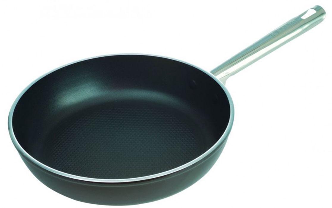 Сковорода Tesoro кованая. Диаметр 26 см93-AL-TE-1-26Сковорода Linea Tesoro изготовлена из высококачественного алюминия с термостойким покрытием Senotherm. Сковорода, изготовленная методом ковки, сохраняет все свойства, присущие литой посуде, а благодаря оптимальному соотношению толщины стенок и дна такую посуду можно использовать на всех существующих типах плит. Эргономичная ручка выполнена из нержавеющей стали.Утолщенные дно и стенки кованой посуды и великолепные теплопроводные свойства алюминия гарантируют равномерное нагревание посуды и быстрое приготовление любимых блюд. Дно сковороды Linea Tesoro армировано диском из нержавеющей стали, что придает изделию дополнительную прочность и возможность использования на индукционных плитах.Высококачественное и долговечное антипригарное покрытие Quantanium с элементами титана позволяет использовать металлаческие кухонные аксессуары. Покрытие экологично и безопасно для здоровья: не вступает в химические реакции с окислителями, щелочами, кислотами, органическими растворителями, а, следовательно, с любыми пищевыми продуктами, водой или бытовыми моющими средствами. Антипригарный слой наносится методом напыления и обладает повышенной износостойкостью. Приготовленная пища сохраняет все полезные свойства продуктов и не пригорает.Можно мыть в посудомоечной машине. Характеристики: Материал: кованый алюминий, нержавеющая сталь. Цвет: черный. Диаметр сковороды: 26 см. Диаметр диска сковороды: 19 см. Высота стенок сковороды: 5,9 см. Толщина стенок сковороды: 0,4 см. Толщина дна сковороды: 0,4 см. Длина ручки сковороды: 18,5 см. Артикул: 93-AL-TE-1-26.