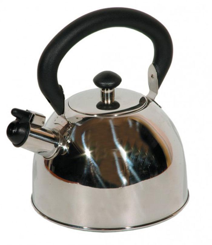 Чайник Tea со свистком, 2 л68/5/4Чайник Tea выполнен из высококачественной нержавеющей стали 18/10 с зеркальной полировкой. Нержавеющая сталь обладает высокой устойчивостью к коррозии, не вступает в реакцию с холодными и горячими продуктами и полностью сохраняет их вкусовые качества. Многослойное капсульное дно аккумулирует тепло, способствует быстрому закипанию воды даже при небольшой мощности конфорок. Чайник снабжен удобной бакелитовой ручкой. Носик чайника имеет откидной свисток, звуковой сигнал которого подскажет, когда закипит вода. Благодаря оригинальному дизайну такой чайник станет украшением любой кухни. Крепление ручек посуды к корпусу выполнено методом точечной сварки или клепкой что обеспечивает минимальный нагрев, прочность и надежность. Чайник пригоден для использования на всех видах плит. Можно мыть в посудомоечной машине. Характеристики:Материал:нержавеющая сталь, пластик. Объем:2 л. Диаметр основания чайника: 18 см. Высота чайника (с учетом ручки):23 см. Размер упаковки: 18,5 см х 18,5 см х 16,5 см. Производитель:Италия. Артикул: 93-2003.