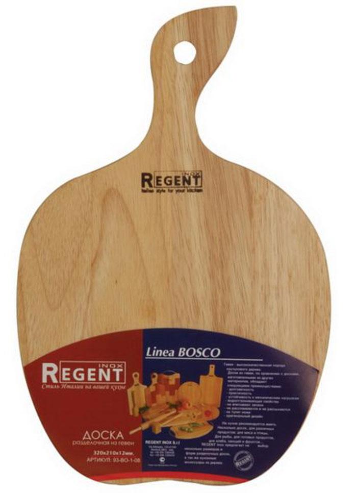 Доска разделочная Regent Inox Яблоко, из гевеи, 32 х 21 х 1,2 см3499-2_яблокоРазделочная доска Regent Inox Яблоко, выполненная из гевеи, прекрасно подойдет для приготовления и сервировки пищи. Доска идеально подходит для разделки мяса, рыбы и нарезки любых продуктов. Она выполнена в форме яблока и имеет специальное отверстие, при помощи которого ее можно подвесить в удобном месте. Гевея - высококачественная порода каучукового дерева. Доски из гевеи, по сравнению с досками, изготовленными из других материалов, обладают следующими преимуществами:- долговечность- практичность- устойчивость к механическим нагрузкам- водоотталкивающие свойства- не впитывают запахи- не расслаиваются и не рассыхаются- не тупят ножи- оригинальный дизайн. На кухне рекомендуется иметь несколько досок, для различных продуктов: для мяса и птицы, для рыбы, для готовых продуктов, для хлеба, овощей и фруктов. Regent Inox предлагает на выбор несколько размеров и форм разделочных досок, а так же кухонные аксессуары из дерева. Характеристики:Материал: гевея. Размер:32 см х 21 см х 1,2 см. Артикул:93-ВО-1-08.