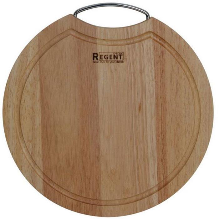 Доска разделочная Regent Inox, из гевеи, 28 х 28 х 1,5 см5241BHКруглая разделочная доска Regent Inox с металлической ручкой изготовлена из высококачественной древесины - гевеи. Доска имеет углубление для стока жидкости вдоль края. Прекрасно подходит для приготовления и сервировки пищи.Гевея - высококачественная порода каучукового дерева. Доски из гевеи, по сравнению с досками, изготовленными из других материалов, обладают следующими преимуществами:- долговечность- практичность- устойчивость к механическим нагрузкам- водоотталкивающие свойства- не впитывают запахи- не расслаиваются и не рассыхаются- не тупят ножи- оригинальный дизайн. На кухне рекомендуется иметь несколько досок, для различных продуктов: для мяса и птицы, для рыбы, для готовых продуктов, для хлеба, овощей и фруктов. Regent Inox предлагает на выбор несколько размеров и форм разделочных досок, а так же кухонные аксессуары из дерева. Характеристики:Материал: гевея. Размер:28 см х 28 см х 1,5 см. Артикул:93-BO-2-08.