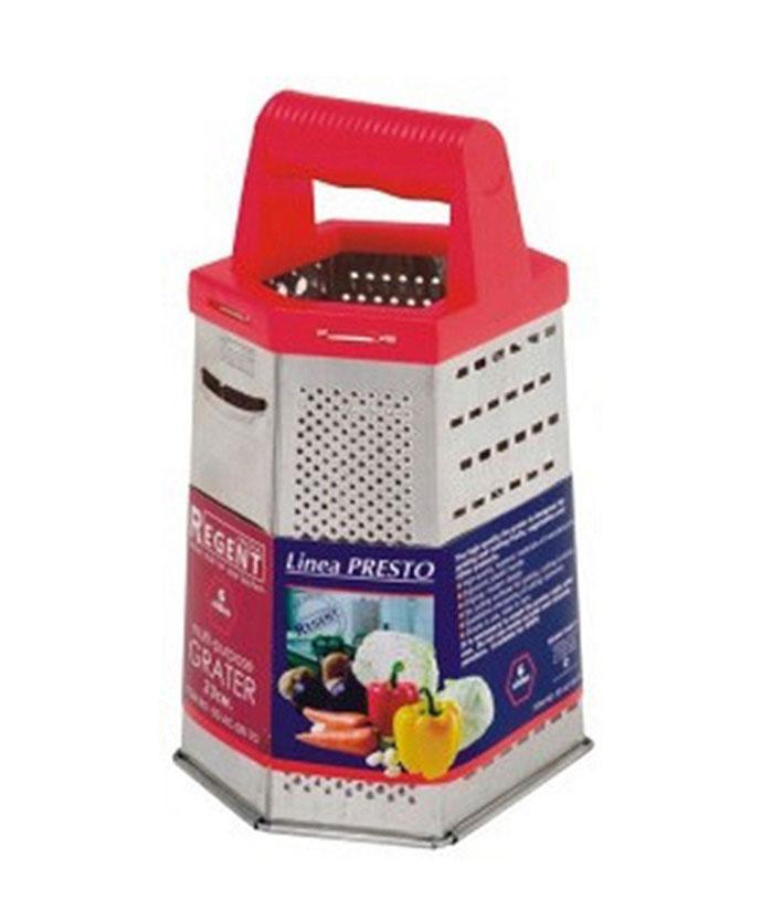 Терка Regent Inox Presto шестигранная, цвет: красный, стальной. 93-AC-GR-70AN53-65Терка Regent Inox Presto выполнена из высококачественной нержавеющей стали. Терка предназначена для измельчения и нарезки фруктов, овощей и других продуктов.Преимущества терки Regent Inox Presto:- эргономичная пластиковая ручка,- оригинальный современный дизайн,- шесть режущих поверхностей для шинковки, крупной и мелкой нарезки,- качественная заточка режущих элементов,- простота в использовании, легкость в уходе.Терку необходимо мыть сразу после использования. Не используйте для чистки жесткие предметы, металлические мочалки и чистящие порошки. Характеристики:Материал: нержавеющая сталь, пластик.Размер терки (В х Д х Ш): 23 см х 15 см х 11,5 см.Размер упаковки (В х Д х Ш): 25 см х 16 см х 12,5 см.Артикул: 93-AC-GR-70.