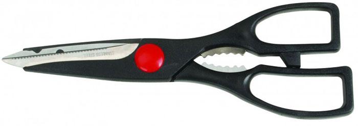 Ножницы кухонные Regent Inox Forte,20 см, цвет: черныйVS-1749Ножницы кухонные Regent Inox Forte, изготовленные из нержавеющей стали и пластика, - универсальный помощник в вашем доме. Кухонные ножницы похожи на обычные, но имеют более мощные утолщенные ручки и лезвия с очень острыми кончиками. Они отлично справляются со многими кухонными работами, начиная с нарезки свежей зелени или пцицы и вскрытия прочных картонных и полимерных упаковок и заканчивая разделкой рыбы и птицы (срезание плавников, разрезание тушки цыпленка на порционные части). Имеется овальная полость между ручками, снабженная зубцами, она используется для колки орехов. Характеристики: Материал: нержавеющая сталь, пластик. Длина: 20 см. Размер упаковки: 28 см х 10 см х 2 см.