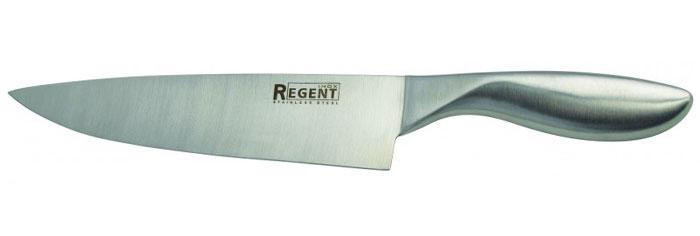 Нож поварской Regent Inox Luna, длина лезвия 20,5 см93-HA-1Поварской нож Regent Inox Luna изготовлен из высококачественной нержавеющей стали. Острое прочное лезвие ножа имеет ровную поверхность и выверенный угол заточки. Специальная закалка металла обеспечивает повышенную прочность. Сбалансированность ножа обеспечивает приложение минимальных усилий при резке. Лезвие ножа не впитывает запахи и не оставляет запаха на продуктах.Оригинальная и практичная ручка выполнена из первоклассной нержавеющей стали.Нож с тяжелой ручкой, толстым, широким и длинным лезвием с центральным острием. Все это позволяет легко рубить капусту, овощи, зелень, резать замороженное мясо, рыбу и птицу. Такой нож займет достойное место среди аксессуаров на вашей кухне.Нож можно прикреплять к настенному магнитному держателю. Характеристики:Материал: нержавеющая сталь 18/10. Общая длина ножа: 32 см. Длина лезвия: 20,5 см. Артикул: 93-HA-1.