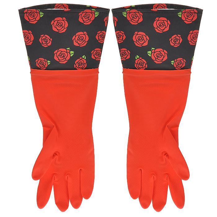 Перчатки резиновые, с манжетой из ПВХ, цвет: красный. Размер М. 29485DAVC150Хозяйственные перчатки, выполненные из резины, идеально подойдут для всех видов хозяйственных работ. Они бережно и надежно предохранят нежную кожу рук от агрессивной внешней среды, такой, как жесткая водопроводная вода и моющие средства. Высокие манжеты, оформленные изображением роз, защищают рукава от грязи и влаги и не дадут воде попасть внутрь.