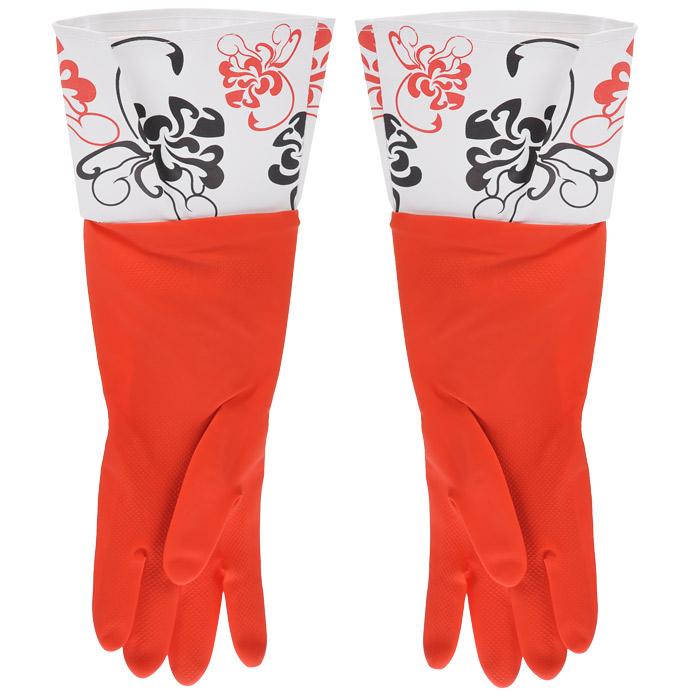 Перчатки резиновые, с манжетой из ПВХ, цвет: красный. Размер М. 29389531-105Хозяйственные перчатки, выполненные из резины, идеально подойдут для всех видов хозяйственных работ. Они бережно и надежно предохранят нежную кожу рук от агрессивной внешней среды, такой, как жесткая водопроводная вода и моющие средства. Высокие манжеты защищают рукава от грязи и влаги. Не дают воде попадать во внутрь.