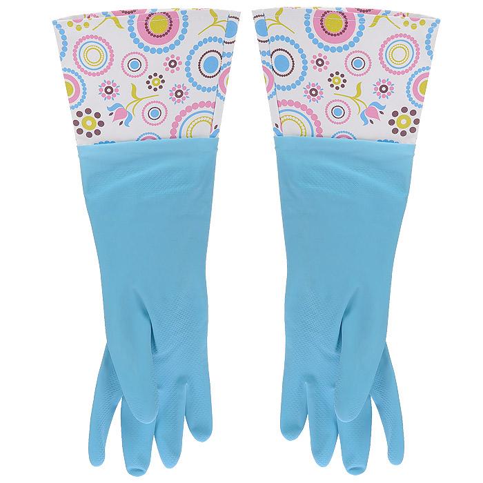 Перчатки латексные, с манжетой из ПВХ и внутренним хлопковым напылением. Размер М. 29494Е7212Хозяйственные перчатки, выполненные из латекса, идеально подойдут для всех видов хозяйственных работ. Они бережно и надежно предохранят нежную кожу рук от агрессивной внешней среды, такой, как жесткая водопроводная вода и моющие средства. Высокие манжеты, оформленные ярким рисунком, защищают рукава от грязи и влаги и не дадут воде попасть внутрь.