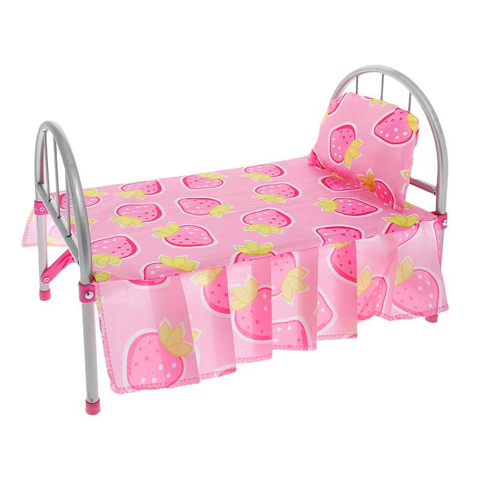 """Легкая кроватка """"Foshan"""" создана, чтобы любимые игрушки вашей малышки сладко спали и видели сказочные сны. Каркас кроватки выполнен из металла с пластиковыми элементами. Спинка и ножки кроватки раскладываются и закрепляются с помощью фиксаторов. В сложенном виде кроватка не занимает много места, что удобно для ее хранения. В комплект с кроваткой входят покрывало и мягкая подушечка. Теперь ваша малышка сможет убаюкивать своих кукол в удобной детской кроватке. Порадуйте ее таким замечательным подарком!"""