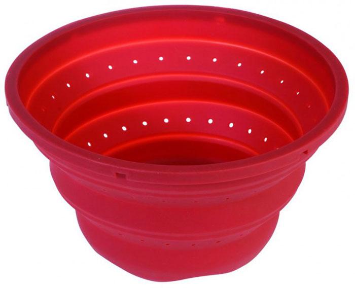 Дуршлаг силиконовый Regent Inox Silicone, складной, цвет: красный. Диаметр 25 см93-SI-CU-10Дуршлаг силиконовый Regent Inox Silicone обладает рядом неоспоримых преимуществ перед своими металлическими и пластиковыми аналогами! Оригинальный дизайн - украшение любой кухни! Современный экологически чистый и гигиеничный материал изготовления. Силикон эластичен, износостоек, легко моется, не горит и не тлеет, не впитывает запахи, не оставляет пятен.Удобство хранения - дуршлаг очень компактный и в сложенном виде. Удобство эксплуатации - благодаря жесткой конструкции стенок. Характеристики: Материал: силикон. Размер дуршлага в собранном виде: 25 см х 14 см х 8,5 см. Размер упаковки: 36 см х 32 см х 3 см. Артикул: 93-SI-CU-10.