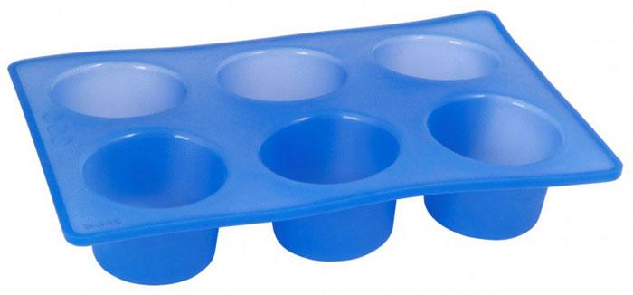 Форма для кексов Regent Inox, силиконовая, цвет: синий, 6 ячеек. 93-SI-FO-06 regent праздничная 93 si fo 104