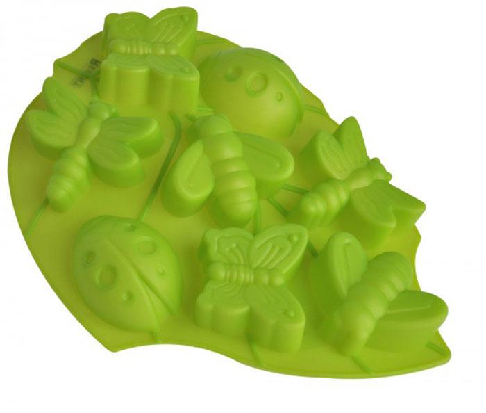 Форма для выпечки и заморозки Regent Inox Лист, цвет: зеленый, 8 ячеек629244Форма для выпечки и заморозки Regent Inox Лист изготовлена из цветного пищевого силикона. Пища, приготовленная в такой форме, не содержит никаких посторонних примесей, поскольку силикон не вступает в химические реакции с окружающими материалами. Форма содержит 8 ячеек в форме бабочек, пчелок и др. Особенности силиконовой формы: - безопасный нетоксичный материал; - широкий температурный диапазон от -40°C до +230°C; - выпечка равномерно и полностью пропекается; - выпечка не пригорает, не прилипает; - ускоряет процесс приготовления; - не впитывает запахи; - легко моется обычным способом и в посудомоечной машине; - продукты легко извлекать путем выворачивания формы наизнанку; - может использоваться для замораживания продуктов;- не заламывается при деформации, удобна для хранения в свернутом виде.