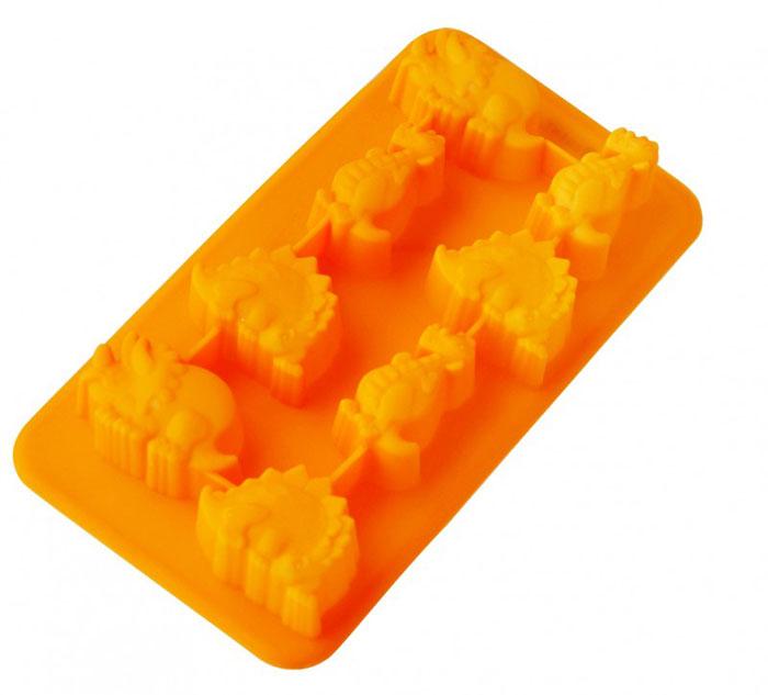 Форма для льда и десерта Динозаврики, силиконовая, цвет: оранжевый, 8 ячеекVT-1520(SR)Форма для льда и десерта Динозаврики выполнена из силикона и предназначена для изготовления льда, конфет, мармелада, желе, выпечки и т.д. На одном листе расположено 8 небольших ячеек в виде разных динозавриков. Оригинальный способ подачи изделий не оставит равнодушными родных и друзей.Силиконовые формы выдерживают высокие и низкие температуры (от -40°С до +230°С). Они эластичны, износостойки, легко моются, не горят и не тлеют, не впитывают запахи, не оставляют пятен. Силикон абсолютно безвреден для здоровья.Не используйте моющие средства, содержащие абразивы. Можно мыть в посудомоечной машине. Характеристики:Материал: силикон. Общий размер формы: 19,5 см х 10,5 см х 2,5 см. Средний размер ячейки: 3,5 см х 3 см. Размер упаковки: 28,5 см х 15,5 см х 3 см. Изготовитель: Италия. Артикул: 93-SI-FO-16.9.