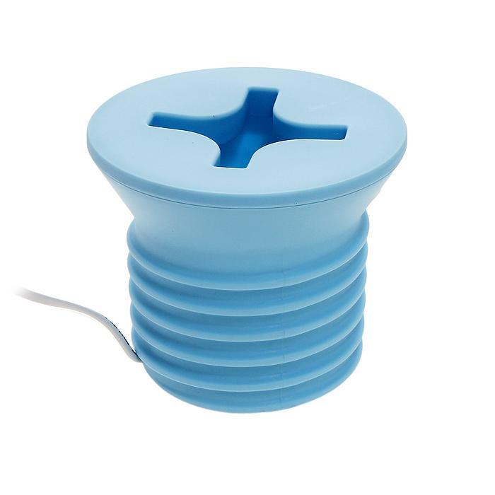 Светильник Винт, цвет: голубой57882-4Светильник Винт, выполненный из пластика белого цвета, станет отличным дополнением к интерьеру. Светильник выполнен в виде винтика с резьбой. Светильник работает от сети, выключатель расположен на проводе.Светильник Винт комплектуется лампочкой.