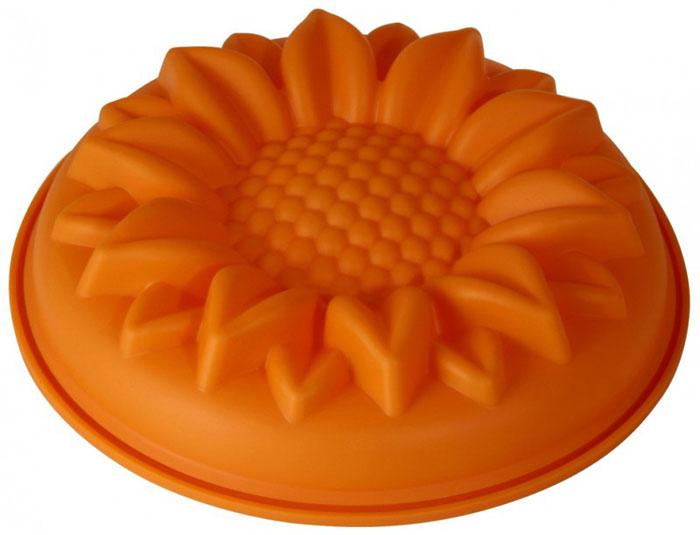 Форма для выпечки и заморозки Regent Inox Ромашка, силиконовая, цвет: оранжевый,  28 х 6 см