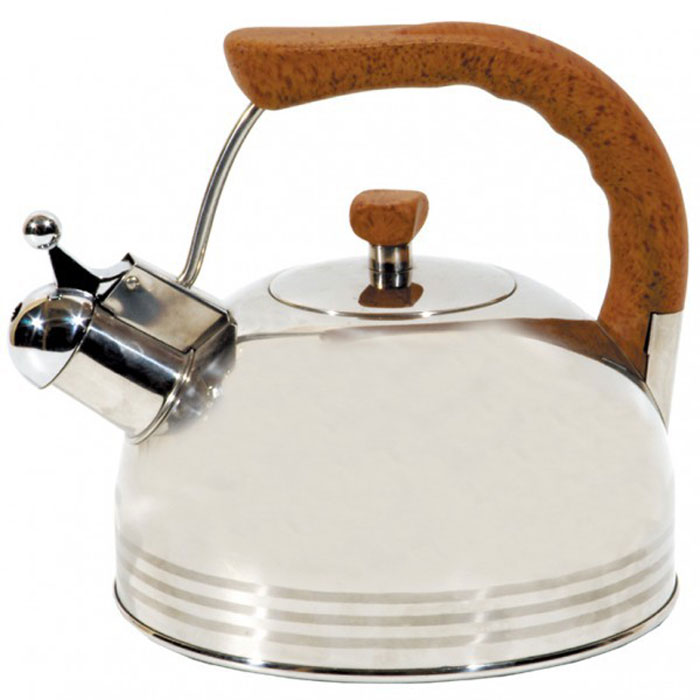 Чайник Lux со свистком, 3,8 л93-2503B.2Чайник Linea Lux выполнен из высоокачественной нержавеющей стали с комбинированным полированием. Эргономичная ненагревающаяся ручка выполнена из бакелита бежевого цвета.В чайнике Linea Lux, изготовленном из экологически чистого материала, сохраняются все полезные свойства и микроэлементы воды. Оптимальное соотношение толщины дна и стенок посуды обеспечивает равномерное распределение тепла, экономит энергию, делает посуду устойчивой к деформации. Многослойное капсулированное дно аккумулирует тепло, способствует быстрому закипанию даже при небольшой мощности конфорок.Носик чайника имеет откидной свисток, звуковой сигнал которого подскажет, когда закипит вода.Чайник Linea Lux подходит для всех видов кухонных плит, включая индукционные. Можно мыть в посудомоечной машине.Чайник Linea Lux функционален, гигиеничен и эргономичен, а благодаря оригинальному дизайну он станет украшением любой кухни. Характеристики:Материал: нержавеющая сталь, бакелит.Цвет: серебристый, бежевый.Объем: 3,8 л.Диаметр основания чайника: 22 см.Высота чайника с учетом ручки: 25 см.Размер упаковки: 23 см х 23 см х 23 см.Артикул: 93-2503B.2.