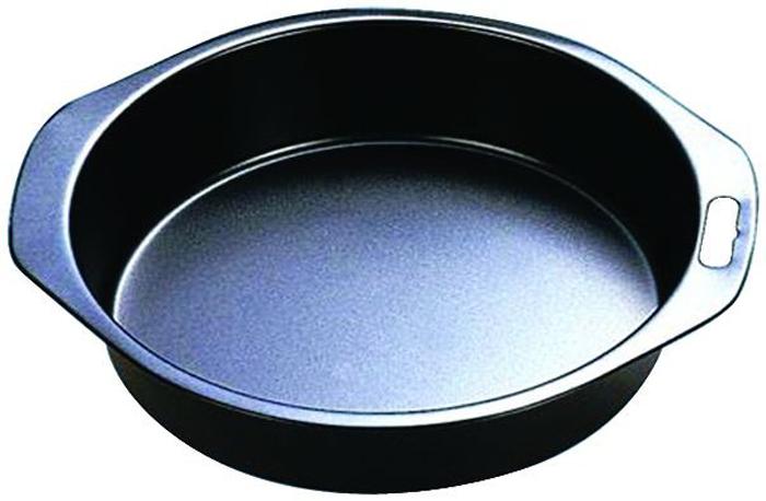 Форма для выпечки Regent Inox Easy, круглая. Диаметр 24 см0801130Форма для выпечки Regent Inox Easy с небольшими удобными ручками выполнена из высококачественной углеродистой стали и снабжена антипригарным керамическим покрытием, что обеспечивает форме прочность и долговечность.Форма равномерно и быстро прогревается, что способствует лучшему пропеканию пищи. Данную форму легко чистить. Готовая выпечка без труда извлекается из формы.Форма подходит для использования в духовке с максимальной температурой 250°С.Перед каждым использованием форму необходимо смазать небольшим количеством масла. Чтобы избежать повреждений антипригарного покрытия, не используйте металлические или острые кухонные принадлежности. Можно мыть в посудомоечной машине. Характеристики:Материал: углеродистая сталь, керамическое покрытие.Цвет: черный.Внешний диаметр: 24 см.Высота стенок: 4 см.Артикул: 93-CS-EA-3-01.
