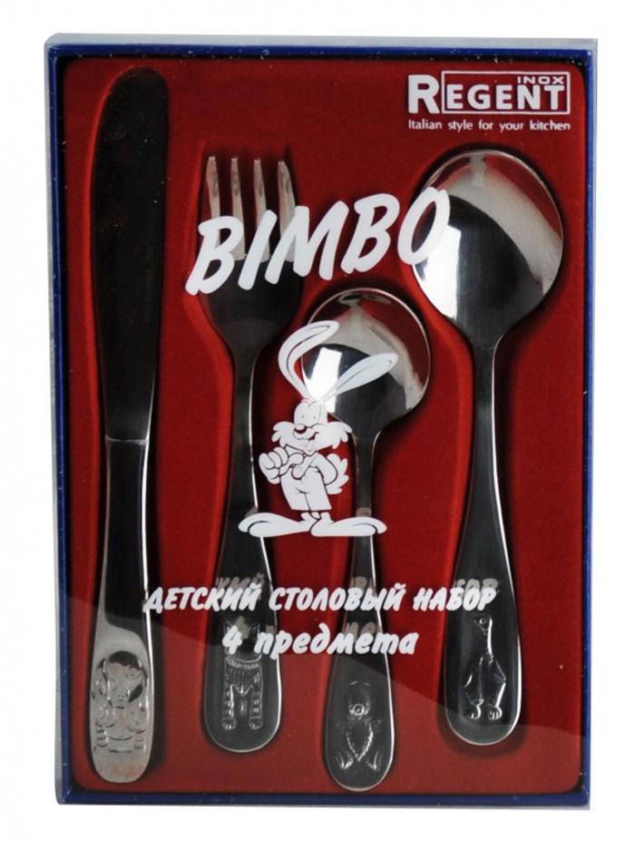 Набор детский столовый Regent Inox BiMayer&Bocho, 4 предмета93-CU-BIM-24.9Набор Regent Inox Bimbo, изготовленный из высококачественной нержавеющей стали, предназначен для детей. Набор состоит из столовой ложки, вилки, ножа и чайной ложки. Ручки оформлены фигурной штамповкой в виде забавных зверят. Такой набор непременно понравится вашему ребёнку, а приём пищи станет для него увлекательным занятием. Характеристики:Материал: нержавеющая сталь. Длина ложки: 14 см. Длина вилки: 14 см. Длина ножа: 17,5 см. Длина чайной ложки: 12 см. Размер упаковки: 18 см х 12,5 х 2 см. Производитель: Италия. Артикул:93-CU-BIM-24.9.