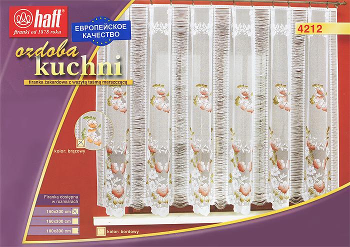 Гардина Haft, на ленте, цвет: белый, высота 150 см. 425199729142Воздушная гардина Haft, изготовленная из полиэстера белого цвета, станет великолепным украшением любого окна. Оригинальный цветочный рисунок привлечет к себе внимание и органично впишется в интерьер комнаты. В гардину вшита шторная лента. Характеристики:Материал: 100% полиэстер. Размер упаковки:37 см х 28 см х 3 см. Цвет: белый. Артикул: 425199.В комплект входит: Гардина - 1 шт. Размер (Ш х В): 300 см х 150 см. Текстильная компания Haft имеет богатую историю. Основанная в 1878 году в Польше, эта фирма зарекомендовала себя в качестве одного из лидеров текстильной промышленности в Европе. Еще в начале XX века фабрика Haft производила 90% всех текстильных изделий в своей стране, с годами производство расширялось, накопленный опыт позволял наиболее выгодно использовать развивающиеся технологии. Главный ассортимент компании - это тюль и занавески. Haft предлагает готовые решения дляваших окон, выпуская готовые наборы штор, которые остается только распаковать и повесить. Модельный ряд отличает оригинальный дизайн, высокое качество. Занавески, шторы, гардины Haft долговечны, прочны, практически не сминаемы, они не притягивают пыль и за ними легко ухаживать.Вся продукция бренда Haft выполнена на современном оборудовании из лучших материалов.