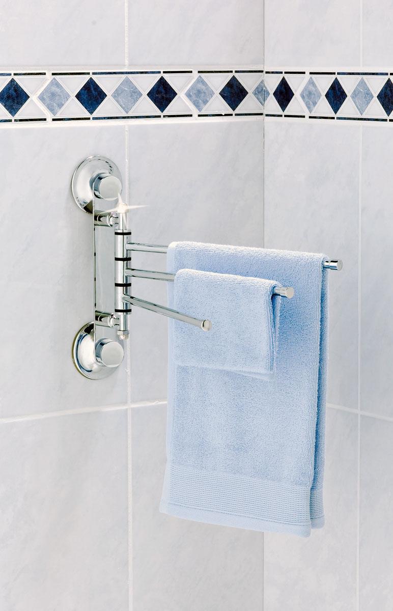 Вешалка для полотенец настенная Tatkraft Swiss Line с 3-мя подвижными планками, 30 x 5 x 21,5 см17083Вешалка для полотенец Tatkraft Swiss Line изготовлена из хромированной стали. Она крепится к поверхности стены с помощью двух присосок. Вешалка состоит из трех подвижных планок. Ее можно использовать как на кухне, так и в ванной комнате. Характеристики: Материал: хромированная сталь. Размер вешалки: 30 см х 5 см х 21,5 см. Расстояние между планками: 2 см. Диаметр присоски: 7,2 см. Максимальная нагрузка: 20 кг. Размер упаковки: 30,5 см х 22,5 см х 5,5 см.