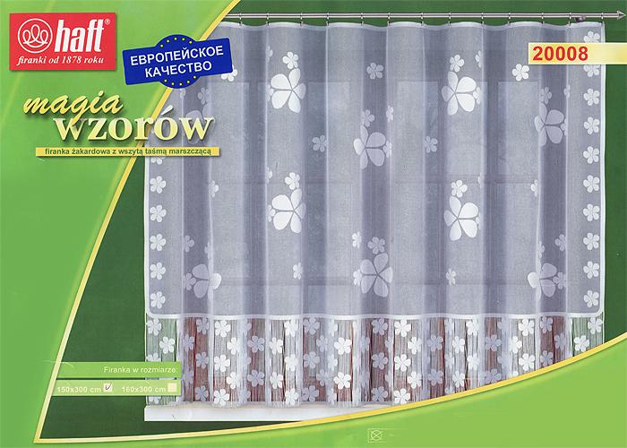 Гардина Haft, на ленте, цвет: белый, высота 150 см. 542612SVC-300Воздушная гардина Haft, изготовленная из полиэстера белого цвета, станет великолепным украшением любого окна. Оригинальный цветочный принт и эффектная бахрома привлечет к себе внимание и органично впишется в интерьер комнаты. В гардину вшита шторная лента. Характеристики:Материал: 100% полиэстер. Размер упаковки:37 см х 28 см х 3 см. Цвет: белый. Артикул: 542612.В комплект входит: Гардина - 1 шт. Размер (Ш х В): 300 см х 150 см. Текстильная компания Haft имеет богатую историю. Основанная в 1878 году в Польше, эта фирма зарекомендовала себя в качестве одного из лидеров текстильной промышленности в Европе. Еще в начале XX века фабрика Haft производила 90% всех текстильных изделий в своей стране, с годами производство расширялось, накопленный опыт позволял наиболее выгодно использовать развивающиеся технологии. Главный ассортимент компании - это тюль и занавески. Haft предлагает готовые решения дляваших окон, выпуская готовые наборы штор, которые остается только распаковать и повесить. Модельный ряд отличает оригинальный дизайн, высокое качество. Занавески, шторы, гардины Haft долговечны, прочны, практически не сминаемы, они не притягивают пыль и за ними легко ухаживать.Вся продукция бренда Haft выполнена на современном оборудовании из лучших материалов.