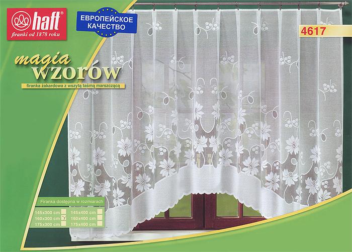 Гардина Haft, на ленте, цвет: белый, высота 160 см. 424406S03301004Воздушная гардина Haft, изготовленная из полиэстера белого цвета, станет великолепным украшением любого окна. Оригинальный цветочный рисунок и нежный орнамент привлечет к себе внимание и органично впишется в интерьер комнаты. В гардину вшита шторная лента. Характеристики:Материал: 100% полиэстер. Размер упаковки:37 см х 28 см х 3 см. Цвет: белый. Артикул: 424406.В комплект входит: Гардина - 1 шт. Размер (Ш х В): 300 см х 160 см. Текстильная компания Haft имеет богатую историю. Основанная в 1878 году в Польше, эта фирма зарекомендовала себя в качестве одного из лидеров текстильной промышленности в Европе. Еще в начале XX века фабрика Haft производила 90% всех текстильных изделий в своей стране, с годами производство расширялось, накопленный опыт позволял наиболее выгодно использовать развивающиеся технологии. Главный ассортимент компании - это тюль и занавески. Haft предлагает готовые решения дляваших окон, выпуская готовые наборы штор, которые остается только распаковать и повесить. Модельный ряд отличает оригинальный дизайн, высокое качество. Занавески, шторы, гардины Haft долговечны, прочны, практически не сминаемы, они не притягивают пыль и за ними легко ухаживать.Вся продукция бренда Haft выполнена на современном оборудовании из лучших материалов.