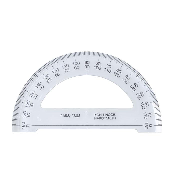 Транспортир Koh-i-Noor, 180 градусов048110Транспортир Silwerhof выполнен из высококачественного прозрачного пластика с ровной четкой шкалой делений и применяется для измерения углов от 0 до 180 градусов. Характеристики:Угол транспортира: 180 градусов. Размер транспортира: 20 см х 5 см.