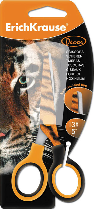 Ножницы канцелярские Erich Krause Тигр, 13 смFS-36052Ножницы Erich Krause Тигр идеально подойдут для использования в офисе и дома. Безопасные закругленные лезвия выполнены из высококачественной нержавеющей стали. На режущее полотно нанесен яркий рисунок в виде тигрового окраса. Прочные пластиковые ручки гарантируют комфорт и надежность во время работы. Характеристики:Материал: пластик, нержавеющая сталь. Длина ножниц: 13 см. Размер упаковки: 8 см х 18 см х 1 см. Изготовитель: Китай.