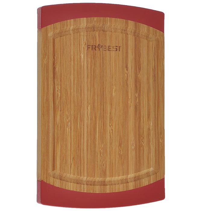 Доска разделочная Frybest Lux, бамбуковая, 18 см х 27 смFY0007Прямоугольная разделочная доска Frybest Lux, выполненная из высококачественной древесины бамбука, станет незаменимым аксессуаром на вашей кухни. Бамбук - инновационный материал, идеально подходящий для разделочных досок. Доски из бамбука обладают высокой плотностью структуры древесины, а также устойчивы к механическим воздействиям. Силиконовая окантовка по краям доски предотвратит ее скольжение по поверхности стола. Доска также имеет углубление для стока жидкости вдоль края. Подходит для резки или рубки мяса и рыбы, а также для сервировки таких блюд, как суши.Функциональная и простая в использовании, разделочная доска Frybest Lux прекрасно впишется в интерьер любой кухни и прослужит вам долгие годы.