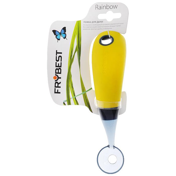 Ложка для дыни Frybest Rainbow, цвет: желтыйZC-42SЛожка для дыни Frybest Rainbow выполнена из прозрачного пластика. Ручка имеет прорезиненную поверхность желтого цвета для более комфортного использования. На ручке также имеется отверстие, благодаря которому ложку можно легко подвесить в удобное для вас место. Ложка очень удобна в использовании: всего одно движение - и перед вами гладкий ровный шарик из дынной мякоти. Ложка для дыни Frybest Rainbow - это яркий и функциональный инструмент, необходимый на каждой кухне. Характеристики:Материал: пластик, резина. Цвет: желтый. Длина ложки:16,5 см. Диаметр рабочей поверхности: 3 см. Артикул: ZC-42S.
