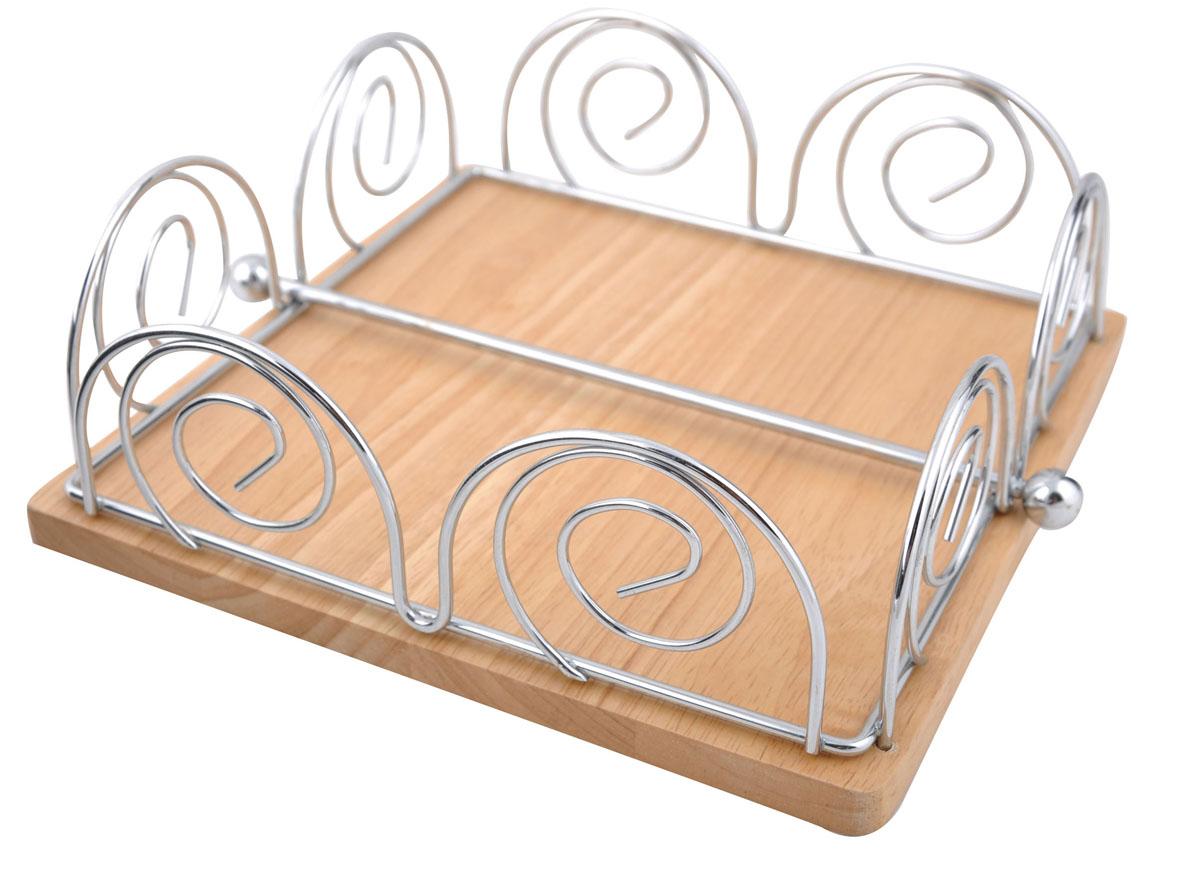 Салфетница Trina. 93-TR-03-0293-TR-03-02Современный дизайн салфетницы Linea Trina изготовленной из металла и дерева, идеально впишется в интерьер современной кухни. Это целое произведение искусства выполненное из прутка. Замысловатые завитки позволяют выглядеть салфетнице очень стильно и воздушно. Пробретите этот предмет сервироки и увидите, как преобразится Ваш стол. Характеристики:Материал:хромированная сталь, дерево. Размер: 20,5 см х 20,5 см х 7 см. Размер упаковки: 21 см х 21 см х 7,5 см. Производитель: Италия. Артикул:93-TR-03-02.