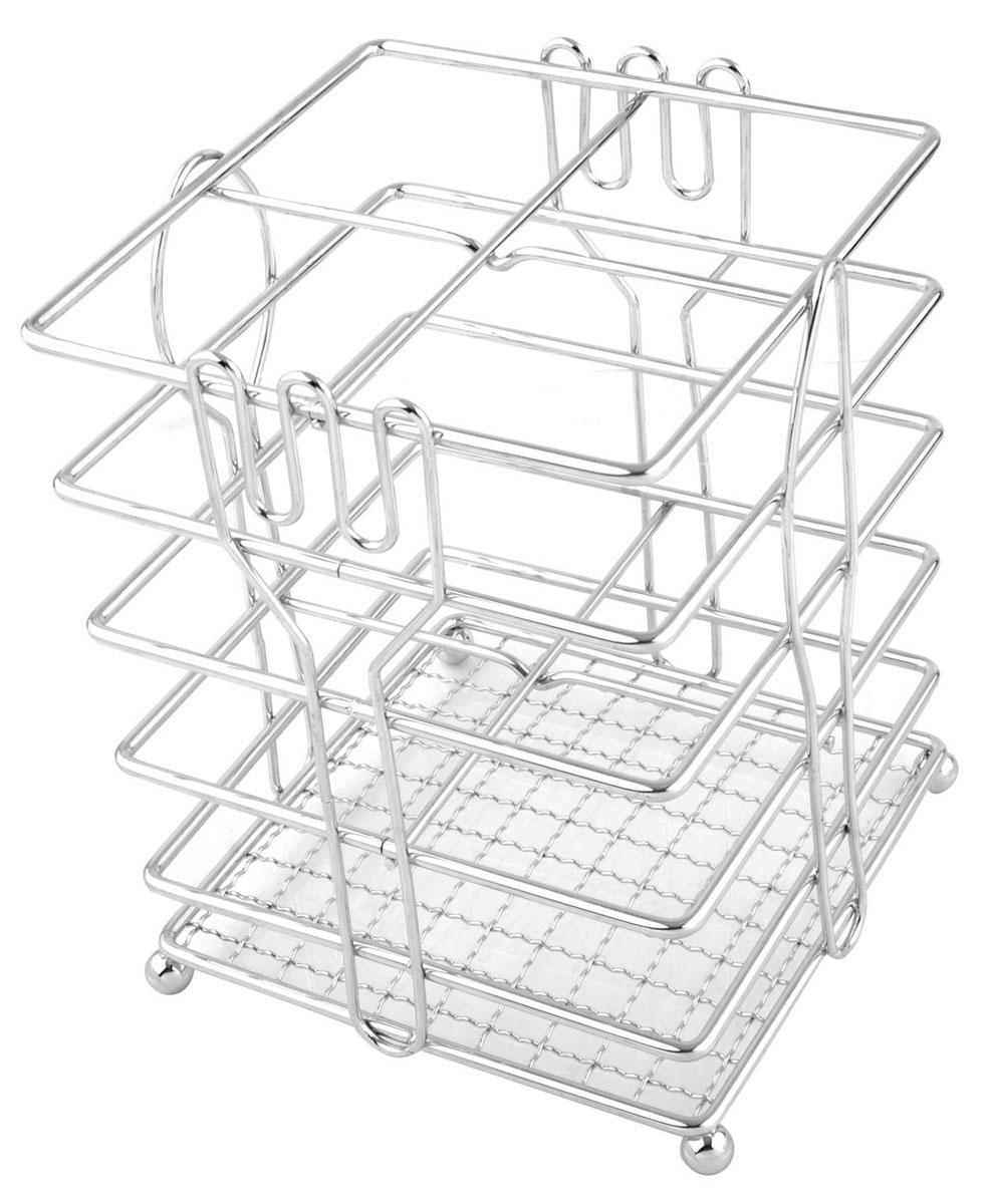 Подставка для столовых приборов Trina93-TR-05-05Подставка для столовых приборов Linea Trina представляет собой каркас из нержавеющей стали со стальной сеткой в нижней части, подставка на четырех шарообразных ножках. Разделенная на четыре секции, данная подставка позволяет аккуратно хранить основные типы столовых приборов: ножи, ложки, вилки, чайные ложки. Вы можете установить ее в любом удобном месте. Такая подставка для столовых приборов станет полезным аксессуаром в домашнем быту и идеально впишется в интерьер современной кухни. Характеристики: Материал: нержавеющая сталь. Размер: 15 см х 12 см х 12 см. Размер упаковки: 16 см х 13 см х 13 см. Производитель:Италия. Артикул:93-TR-05-05.