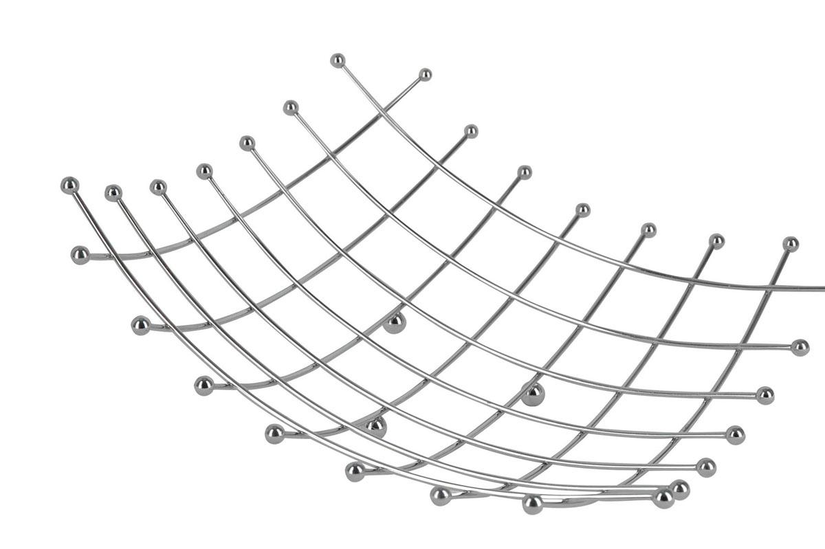 Фруктовница Trina. 93-TR-01-15115510Современный дизайн фруктовницы Linea Trina, изготовленной из нержавеющей стали, идеально впишется в интерьер современной кухни. С помощью фруктовницы можно легко украсить любой стол, наполнив ее разнообразными фруктами. Фруктовница имеет ножки с металлическими шариками - для устойчивости. Характеристики: Материал:хромированная сталь. Размер: 34 см х 34 см х 9 см. Артикул:93-TR-01-15. Страна: Италия.